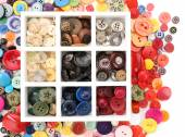 Various of sewing buttons in box on white background, macro view — Stock Photo