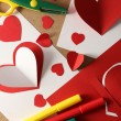 Post cards with paper hearts — Stock Photo #62221107