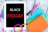Tablet with Black Friday text — Stock Photo