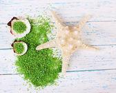 Sea salt crystals with sea shells, star fish — Stock Photo