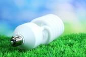 在明亮的背景上的绿草上节能灯泡 — 图库照片