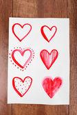 Geschilderde hart op papier — Stockfoto
