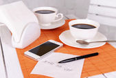 Coffee and phone number on napkin — Foto de Stock