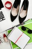 Fashion blogger concept. Still life of fashion creative space — Stock Photo