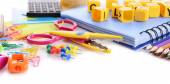 Colorful school stationery — Stock Photo