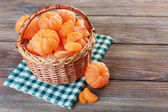 Tangerines on wooden table — Foto de Stock