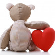 Teddy Bear with red heart isolated on white — Stock Photo #62385897