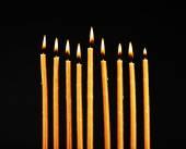Hanukkah menorah with candles — Stock Photo