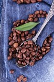 Green petal near the spoon of coffee beans on blue jeans material — Stock Photo