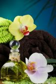 Spa treatments with orchid flowers on wooden table on colorful background — Stock Photo