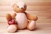 Teddy Bear with padlock heart — Stock Photo