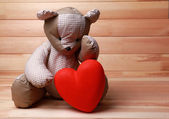 Teddy Bear with red heart — Stock Photo