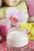 Spa treatments and cream with  orchid flower extract, close-up — Stockfoto