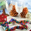 Holiday table setting with Christmas decoration and light background — Stock Photo #62483583
