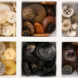 Various of sewing buttons in box, macro view — Stock Photo #62484303