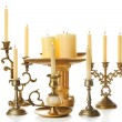 Retro candlesticks with candles, isolated on white — Stock Photo #62485929