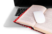 Laptop, open book and computer mouse on white background — Stock Photo