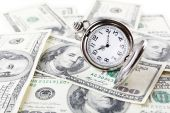 Silver pocket clock and money close-up. Time is money concept — Stock Photo