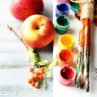 Beautiful still life with professional art materials, close up — Stock Photo #62560517