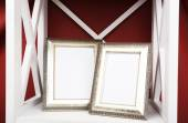 Photo frames on shelf — Foto de Stock