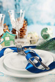 Table setting with Christmas decoration — Stok fotoğraf