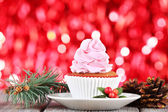 Christmas cup-cake with cream — Stock Photo