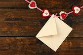 Liefdesbrief opknoping op touw — Stockfoto