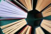 Group of books on colorful background, top view — Stock Photo