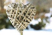 Tree branch with heart decoration — Stock Photo