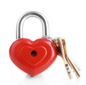 Heart-shaped padlock with key isolated on white — Stock Photo