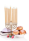 Festive composition for Hanukkah isolated on white — Stock Photo