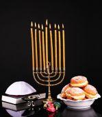 Festive composition for Hanukkah isolated on black — Stock Photo