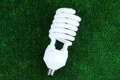 Energy saving light bulb on green grass background — Φωτογραφία Αρχείου