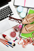 Fashion blogger concept. Still life of fashion creative space — Stock Photo