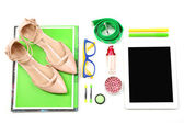 Fashion blogger concept.  essentials objects in a fashion blogger. Isolated on white — Stock Photo