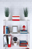 Bookshelves with books and decorative objects on brick wall background — Stock Photo