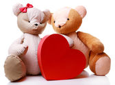 Teddy Bears with red heart isolated on white — Foto Stock