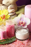Spa treatments with orchid flower, close-up — Stock Photo