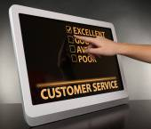 Hand touching tablet pc screen, Customer Service concept — Stock Photo