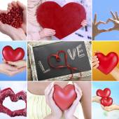 Collage of different hearts images — Stock Photo