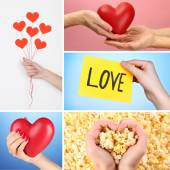 Collage of different hearts images — Stockfoto