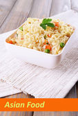 Asian noodles in bowl with vegetables and space for your text — ストック写真