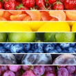 Fruits and berries in colorful collage — Stock Photo #62833847