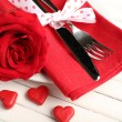 Valentine Day table setting — Stock Photo #62839463