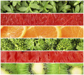 Fruits and greens in colorful collage — Stock Photo