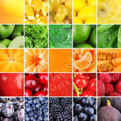 Fruits, berries and greens in colorful collage — Stock Photo