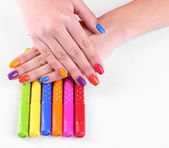 Multicolor female manicure with markers — Photo