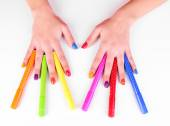 Multicolor female manicure with markers — ストック写真