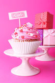 Delicious cupcake with inscription — Stock Photo
