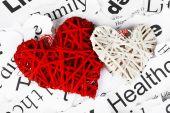 Decorative wicker hearts — 图库照片